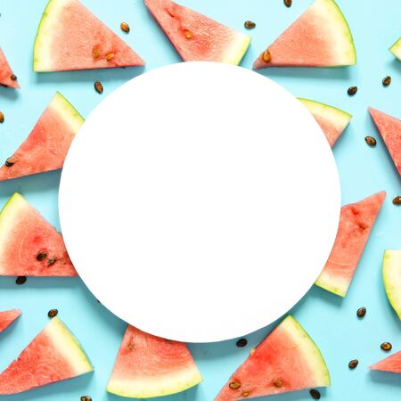 Fresh red watermelon slice Isolated light blue background.  Summer concept.Top view, Flat lay, Copy space. - Image