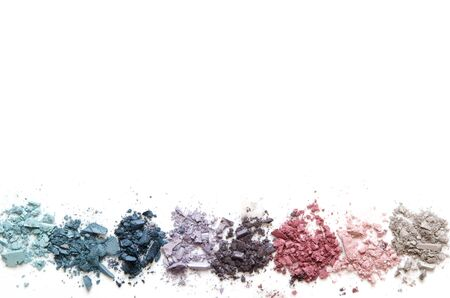 Crushed eyeshadow makeup set isolated on white background. The concept of fashion and beauty industry. Copy Space. - Image