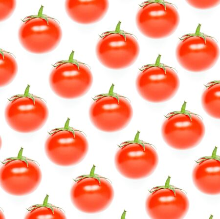 Colorful pattern of red tomatoes on white background. - Image