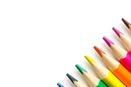 Color pencils isolated on white background. Close up. Copy spase. - Image