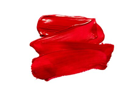Structural paint red on a white background. Paint to smear. - Image 스톡 콘텐츠