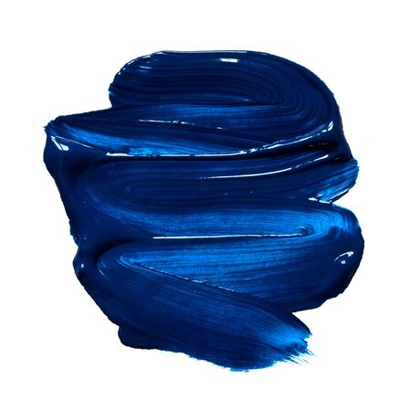 Structural paint blue on a white background. Paint to smear. - Image