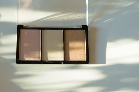 Compact eyeshadow palette or illuminizer. The concept of fashion and beauty industry. Natural hard light, deep shadows. - Image