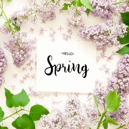 Inscription Hello Spring. Lilac flowers on white background. Spring flowers. Top view, flat lay. - Image Banco de Imagens