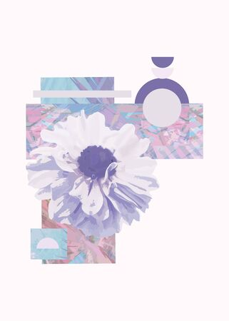 Geometric abstract design with flower on white background. - Image