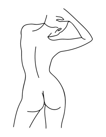 Sketch of woman body. Line art. Vector Illustration