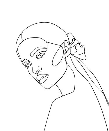 Woman face continuous line drawing.  Fashion concept, woman beauty minimalist, vector illustration for t-shirt.