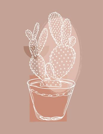 Cactus line drawing, house plant decor. - Vector illustration Stock Photo