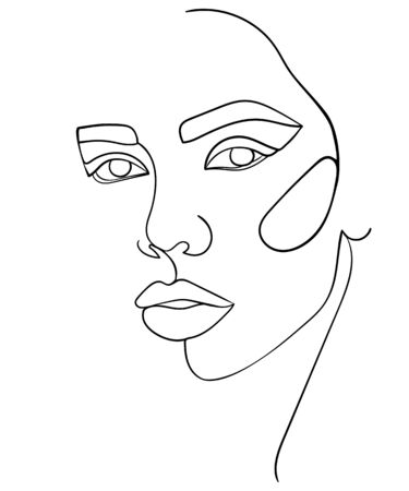 Abstract minimalistic linear sketch. Woman's face. - Vector illustration