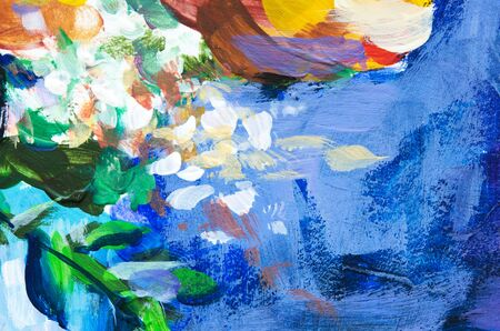 Hand painted modern style flowers. Brushstrokes of paint. Abstract art background. - Image Stock Photo