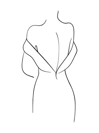 Female back line art. Fashion concept, woman beauty minimalist, vector illustration for t-shirt.