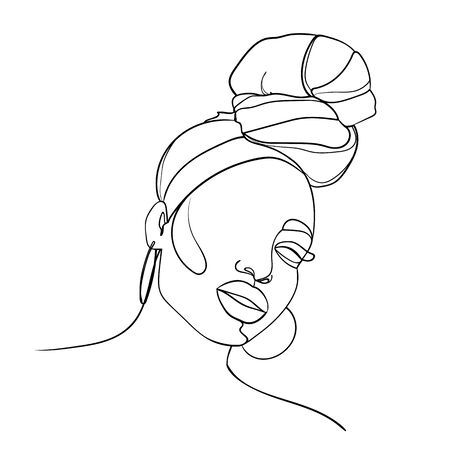 Abstract portrait of young African woman in minimalistic modern style. Line drawing. -  Vector illustration