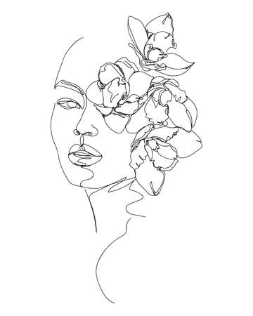 Flowers in woman head. Nature cosmetics. Black and white line drawing illustration. Vettoriali
