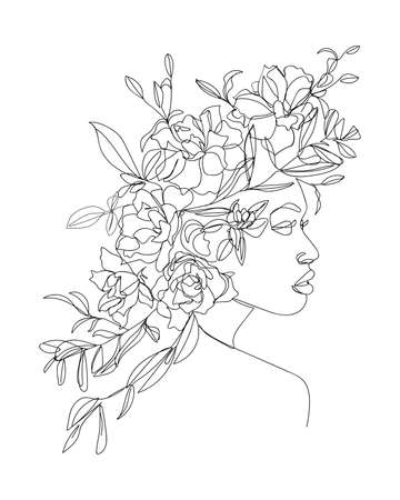 Portrait of young beautiful woman with flowers on head. Line drawing. - Vector illustration. Illustration