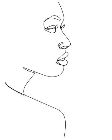 Abstract minimalistic linear sketch. Woman face. - Vector illustration
