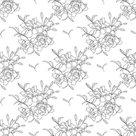 Seamless floral pattern with flowers and leaves. - Vector illustration