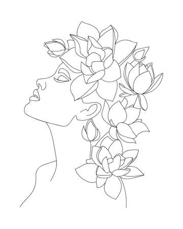 Portrait of beautiful woman with lotus flowers on head. Line drawing. - Vector illustration. Illustration