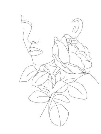 Minimalist face man and rose flower. One Line Abstract Portrait. Art Print. - Vector illustration