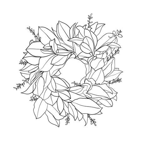 Wreath with leaves, round frame, isolated on white background. Art line. For wedding invitations, greeting, Christmas cards. - Vector illustration