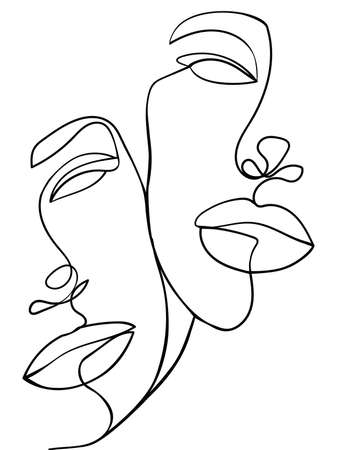 One Line Art Couple. Valentines Day Illustration. Love poster. Two faces. - Vector illustration