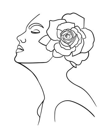 Portrait, face with flower. Simple, minimalist vector illustration of beautiful woman. Line drawing 矢量图像