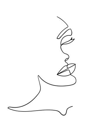 One line drawing face. Abstract woman portrait. Modern minimalism art. - Vector illustration