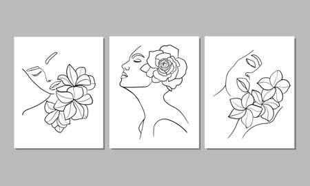 Set of three portrait, face with flower. Simple, minimalist vector illustration of beautiful woman. Line drawing