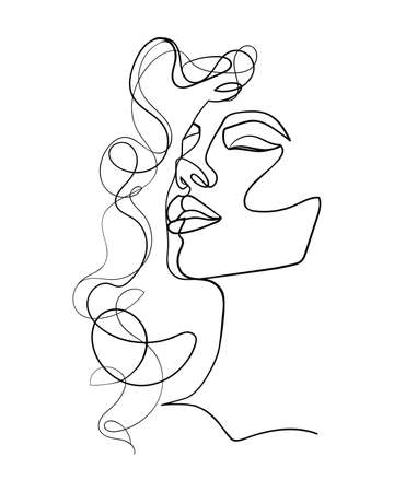 One line drawing face and hair. Abstract woman portrait. Modern minimalism art. - Vector illustration