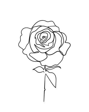 Rose flower icon. Continuous one line drawing. - Vector illustration