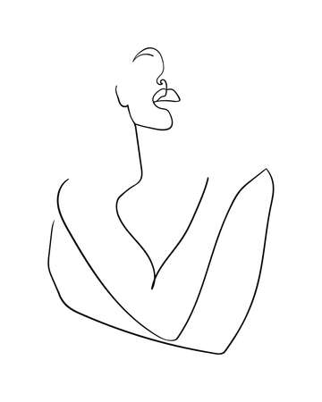 Continuous line, drawing of beauty woman hugging herself with crosed hands. Minimalism style. - Vector illustration