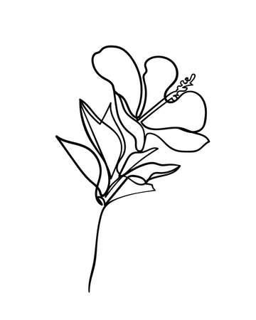 Hibiscus flower icon. Continuous one line drawing. - Vector illustration Illustration