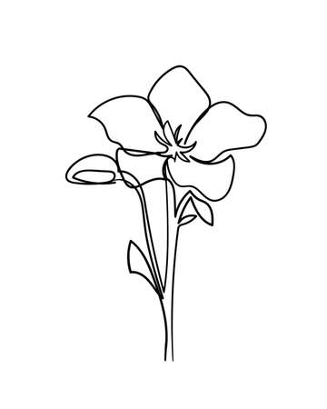 Flower icon. Continuous one line drawing. - Vector illustration
