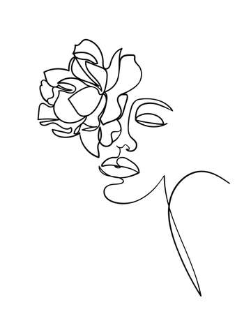 Beauty face with flower rose line drawing art. Abstract minimal portrait continuous line. - Vector illustration 矢量图像