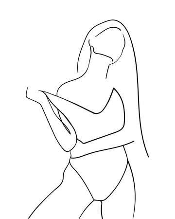 Woman in Swimsuit, One Line Drawing. - Vector illustration