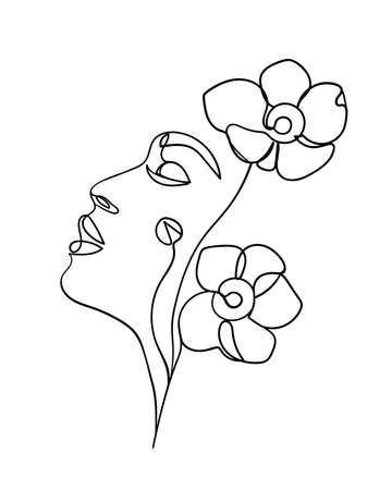 Beauty face with flowers line drawing art. Abstract minimal portrait continuous line. - Vector illustration