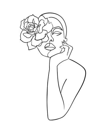 Abstract face with flower rose by one line drawing. Beauty salon logo. Nature symbol of cosmetics. - Vector illustration Illustration