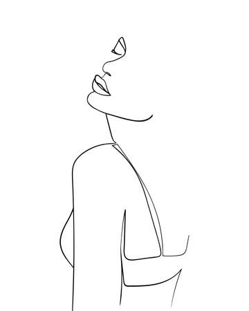 One line drawing face and body. Modern minimalism art. - Vector illustration