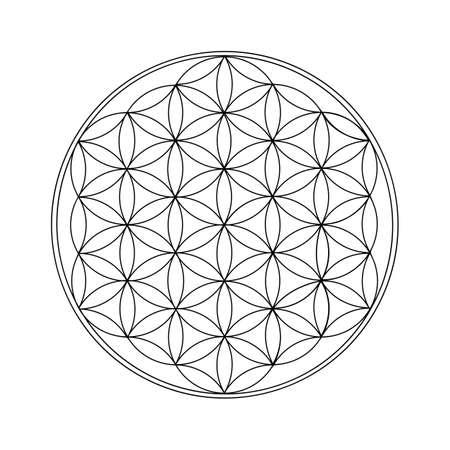 Flower Of Life Black Outline. Sacred geometry. - Vector illustration Illustration
