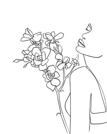 Beautiful woman face with rose flower, line Art. Concept of love for nature - Vector illustration