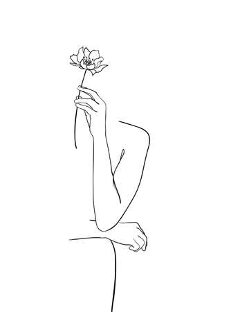 Line drawing woman with flower. - Vector illustration
