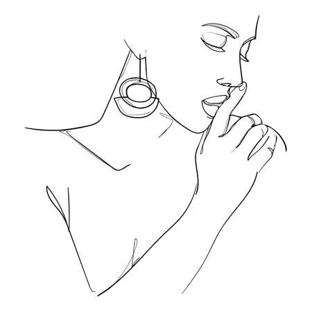 Minimal line art woman with hand on face. Black Lines Drawing. - Vector illustration