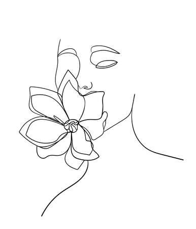 Beauty face with flower magnolia line drawing art. Abstract minimal portrait. - Vector illustration