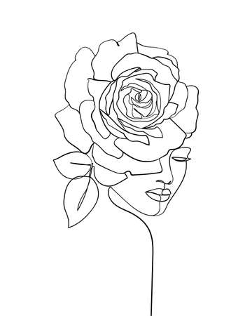 Beauty face with flower rose line drawing art. Abstract minimal portrait continuous line. - Vector illustration