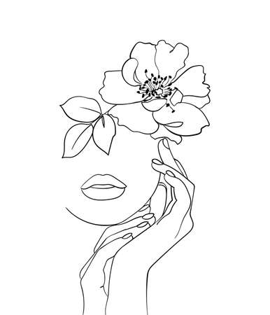 Beauty face with flower rosehip line drawing art. Abstract minimal portrait. - Vector illustration Vector Illustration