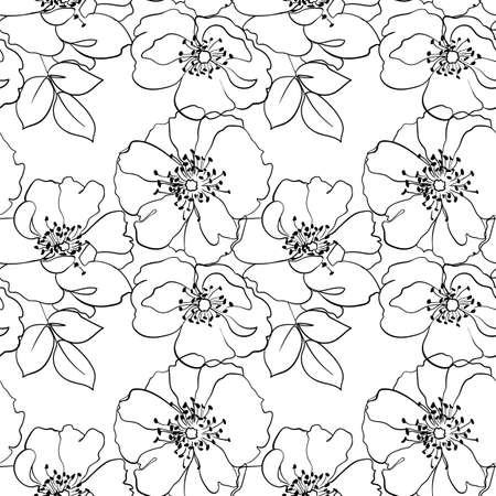 Vector seamless pattern with flowers outline on the white background.