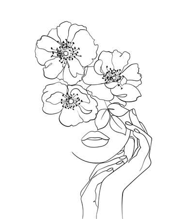 Beauty face with flowers line drawing art. Beauty salon logo. Nature symbol of cosmetics. - Vector illustration