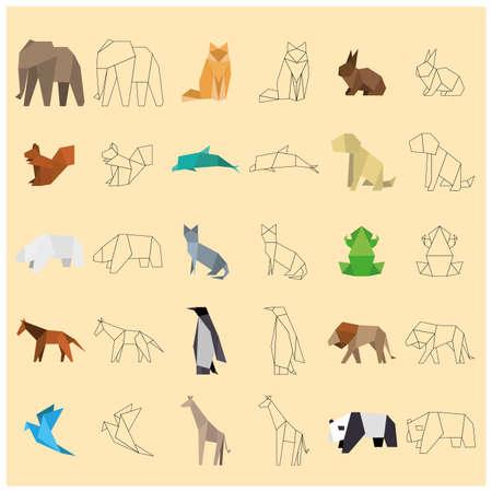 paper origami: Animals paper origami Illustration