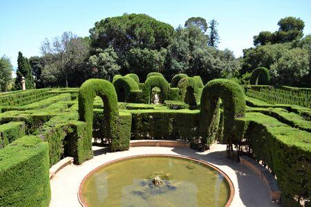 Beautiful medieval maze garden in Barcelona