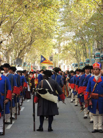 Barcelona, Spain, September 11, 2012 Traditional military history celebrating the catalan national day
