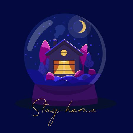 Vector illustration -  House in a snowball. Stay home cincept.  It can be used for poster, banners, magazines